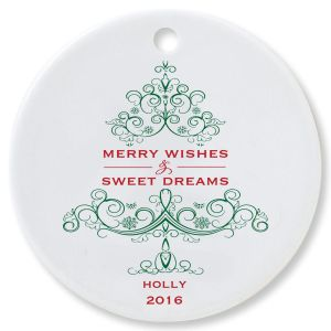 Merry Wishes Round Ornament