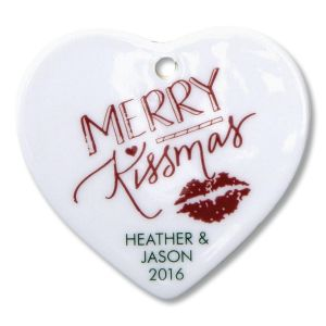 Merry Kissmas Heart Ornament