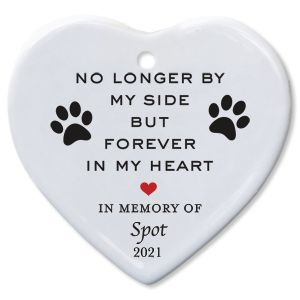 No Longer By Heart Pet Memorial Christmas Personalized Ornaments