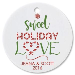 Sweet Holiday Love Round Ornament