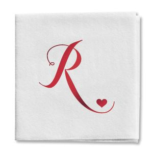 Heart Initial Cocktail Napkin by Designer Jillian Yee-Pham