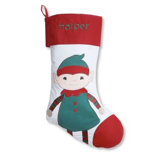 Elf Personalized Christmas Stocking