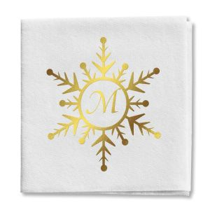 Snowflake Initial Cocktail Napkins