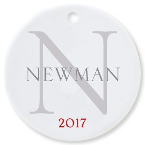 Name with Initial Round Personalized Christmas Ornament