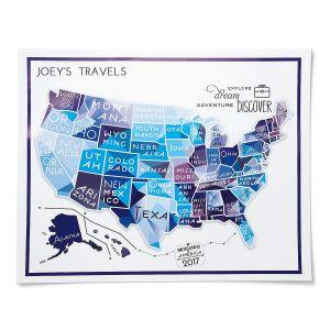 Blue Travel Map by Designer Jillian Yee-Pham
