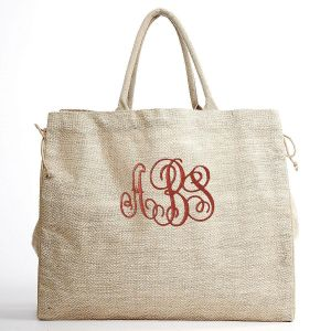 Monogrammed Herringbone Shopper