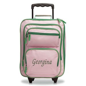 Pink and Green Rolling Luggage