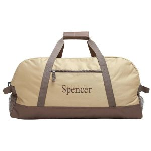 Beige and Brown Duffel Bag