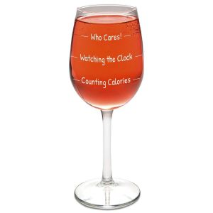 Counting Calories Stemmed Wine Glass