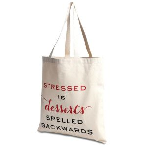 Stressed/Desserts Canvas Tote by Designer Jillian Yee-Pham