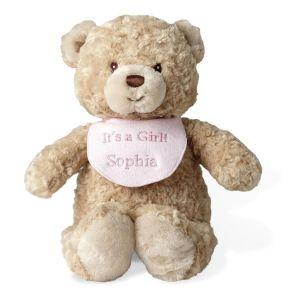 Bear with It's A Girl Bib