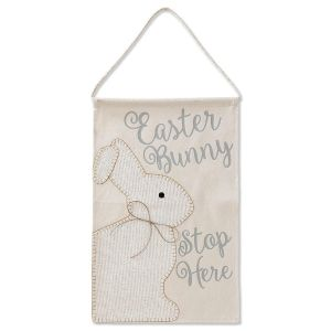 Easter Bunny Stop Here Burlap Flag by Mud Pie