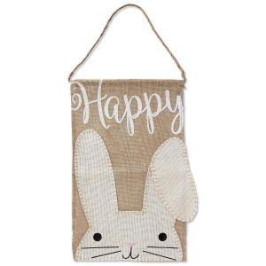 Happy Bunny Burlap Flag