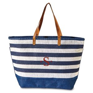 Navy & White Jute Initial Tote Bag