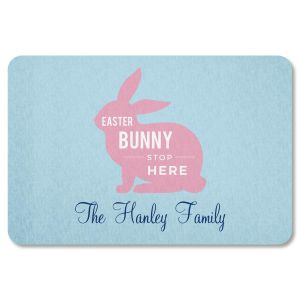 Easter Bunny Stop Here Personalized Doormat by Designer Jillian Yee-Pham