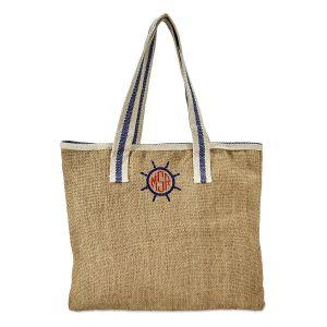 Monogrammed Blue & White Jute Bag