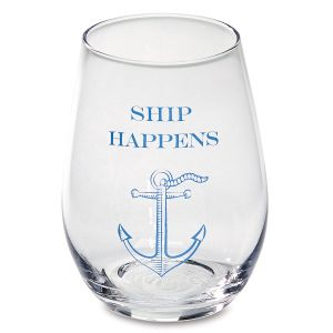 Ship Happens Stemless Wine Glass by Two's Company