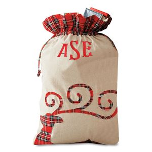 Reindeer Personalized Tartan Christmas Sack