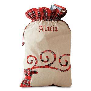 Reindeer Personalized Tartan Christmas Sack - Name