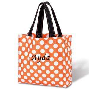 Orange Dot Personalized Halloween Tote
