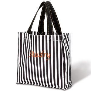 Black Stripe Personalized Halloween Tote