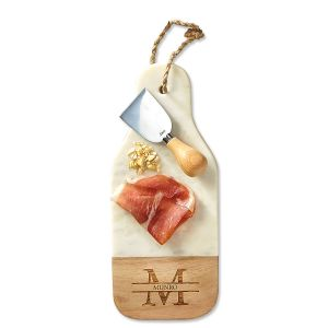 Monogrammed Wood & Marble Bottle-Shaped Cutting Board