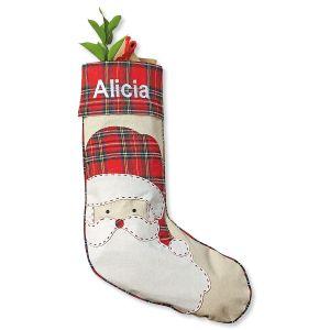 Santa Tartan Personalized Christmas Stocking