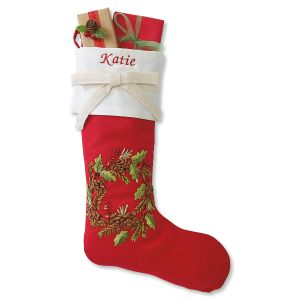 Christmas Wreath Personalized Christmas Stocking