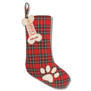 Red Pet Tartan Personalized Christmas Stocking