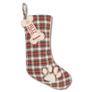 White Pet Tartan Personalized Christmas Stocking