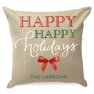 Happy Holidays Personalized Pillow by Designer Jillian Yee-Pham