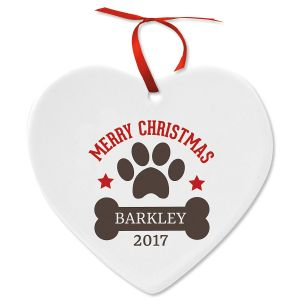 Paw Print and Bone Heart Personalized Christmas Ornament