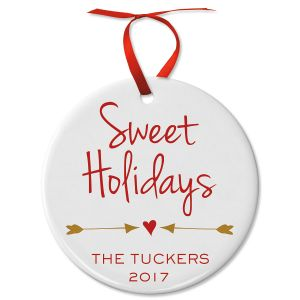 Sweet Holidays Round Personalized Christmas Ornament