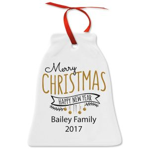 Merry Christmas & Happy New Year Bell Personalized Christmas Ornament