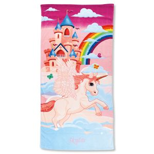 Unicorn Castle Personalized Towel