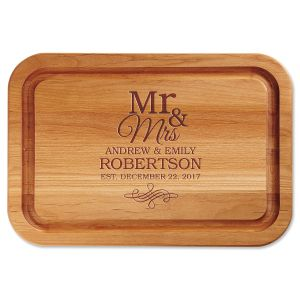 Mr. & Mrs. Personalized Wood Cutting Board