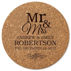 Personalized Mr. & Mrs. Round Cork Trivet