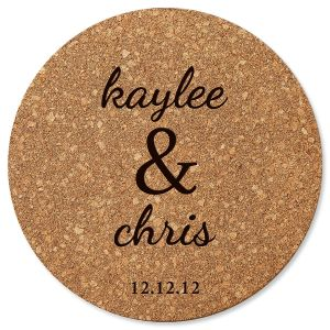 Personalized Couple's Round Cork Trivet