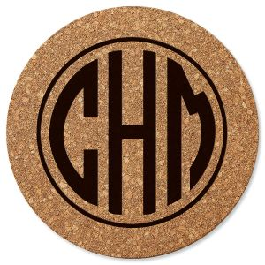 Personalized Circle Monogram Round Cork Trivet