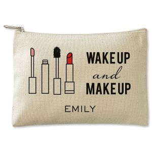 Personalized Wake Up and Make Up Zippered Canvas Pouch