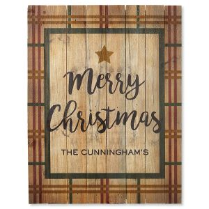 Merry Christmas Plaid Personalized Plaque