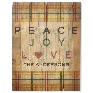 Peace Joy Love Plaid Personalized Plaque