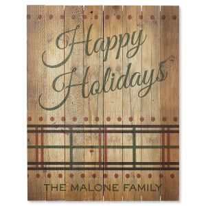 Happy Holidays Plaid Personalized Plaque