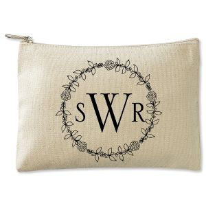 Personalized Wreath Monogram Zippered Canvas Pouch