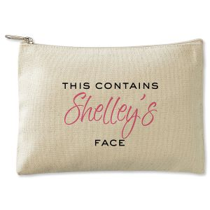 Personalized This Contains Zippered Canvas Pouch