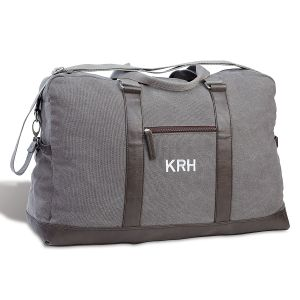 Durable, Monogrammed, Large Dark Grey Canvas Duffel