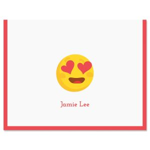 Red Heart Eye Emoji Note Cards