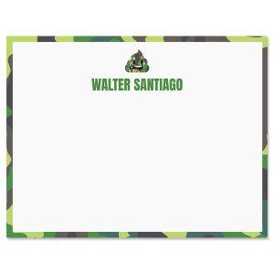 Green Camo Poop Emoji Correspondence Cards