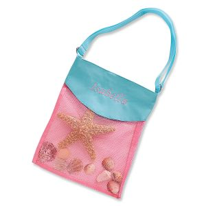 Personalized Pink & Turquoise Seashell Tote
