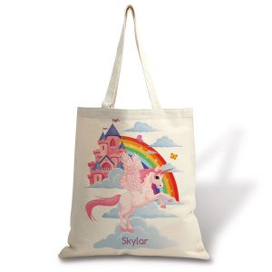 Personalized Unicorn Canvas Tote